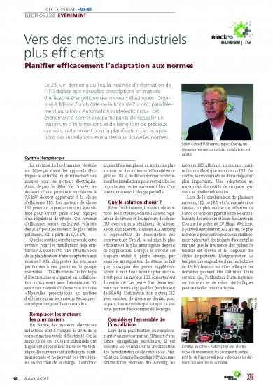 «Vers des moteurs industriels plus efficients» (Bulletin 8/2015)